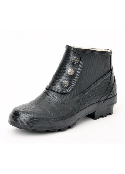 Spats Boots - Black Croc Skin Patent
